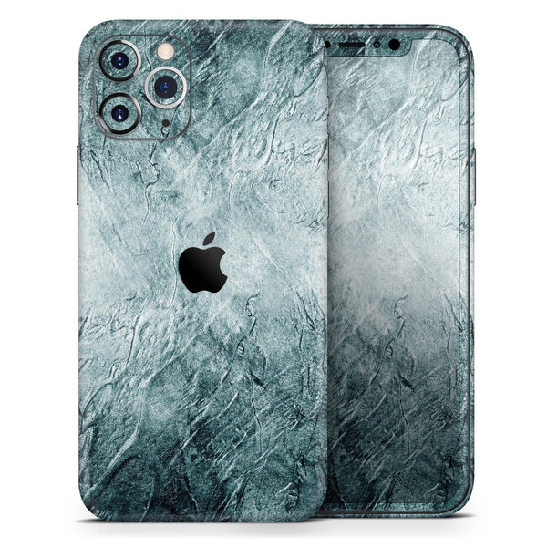 Grungy Teal Wavy Abstract Surface - Skin-Kit compatible with the Apple iPhone 12, 12 Pro Max, 12 Mini, 11 Pro or 11 Pro Max (All iPhones Available)