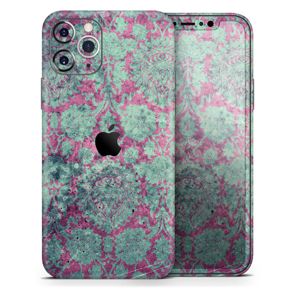 Grungy Teal and Pink Damask Pattern - Skin-Kit compatible with the Apple iPhone 12, 12 Pro Max, 12 Mini, 11 Pro or 11 Pro Max (All iPhones Available)