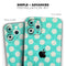 Grungy Teal and White Polka Dots - Skin-Kit compatible with the Apple iPhone 12, 12 Pro Max, 12 Mini, 11 Pro or 11 Pro Max (All iPhones Available)