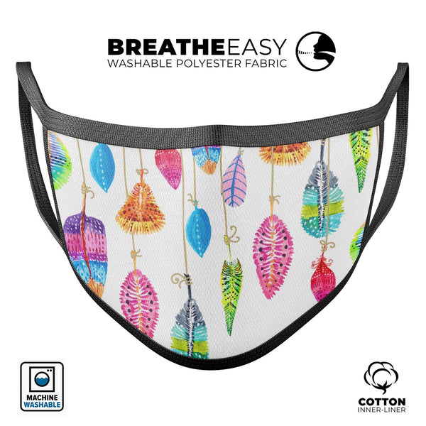 Hanging Feathers - Made in USA Mouth Cover Unisex Anti-Dust Cotton Blend Reusable & Washable Face Mask with Adjustable Sizing for Adult or Child
