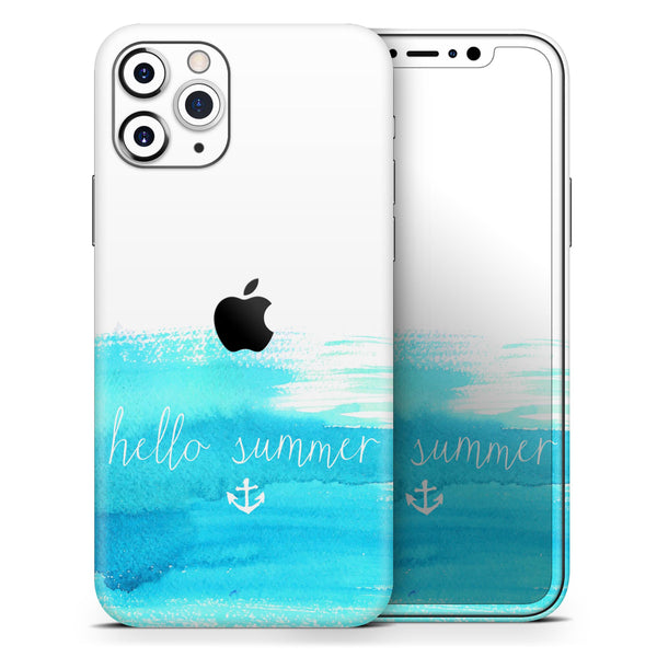 Hello Summer Blue Watercolor Anchor V2 - Skin-Kit compatible with the Apple iPhone 12, 12 Pro Max, 12 Mini, 11 Pro or 11 Pro Max (All iPhones Available)