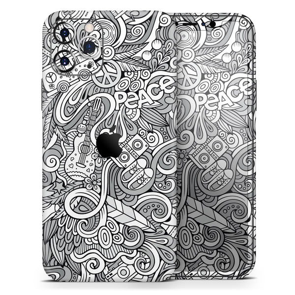 Hippie Dippie Doodles - Skin-Kit compatible with the Apple iPhone 12, 12 Pro Max, 12 Mini, 11 Pro or 11 Pro Max (All iPhones Available)