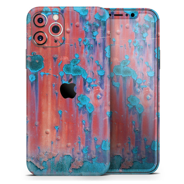 Hot Coral Metal with Turquoise Rust - Skin-Kit compatible with the Apple iPhone 12, 12 Pro Max, 12 Mini, 11 Pro or 11 Pro Max (All iPhones Available)
