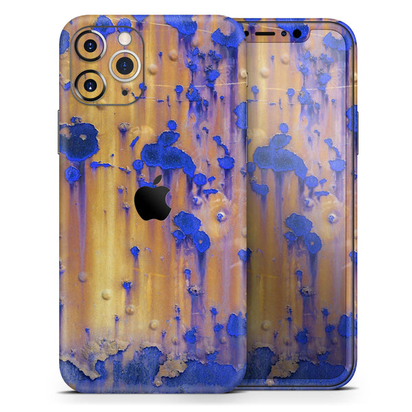 Hot Orange Metal with Royal Blue Rust - Skin-Kit compatible with the Apple iPhone 12, 12 Pro Max, 12 Mini, 11 Pro or 11 Pro Max (All iPhones Available)