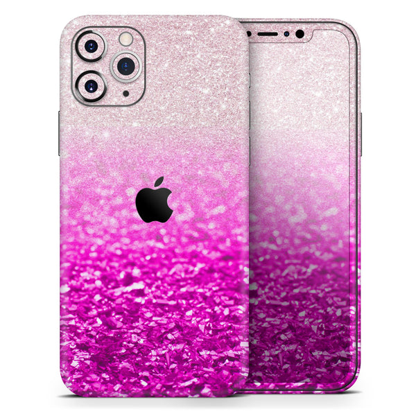 Hot Pink & Silver Glimmer Fade - Skin-Kit compatible with the Apple iPhone 12, 12 Pro Max, 12 Mini, 11 Pro or 11 Pro Max (All iPhones Available)