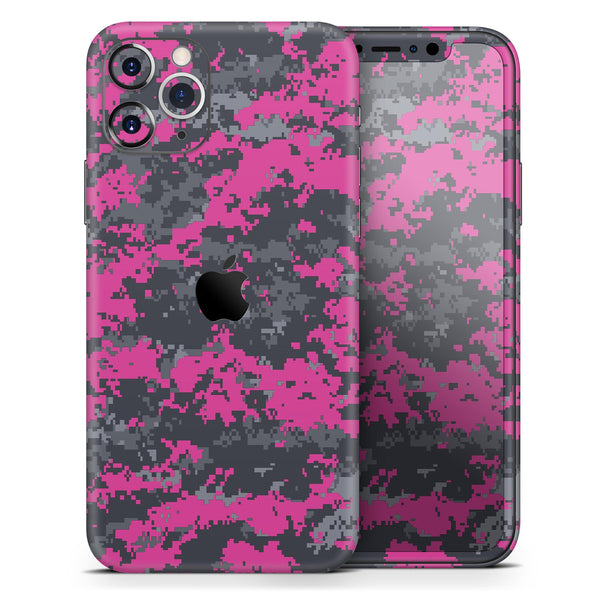 Hot Pink and Gray Digital Camouflage - Skin-Kit compatible with the Apple iPhone 12, 12 Pro Max, 12 Mini, 11 Pro or 11 Pro Max (All iPhones Available)