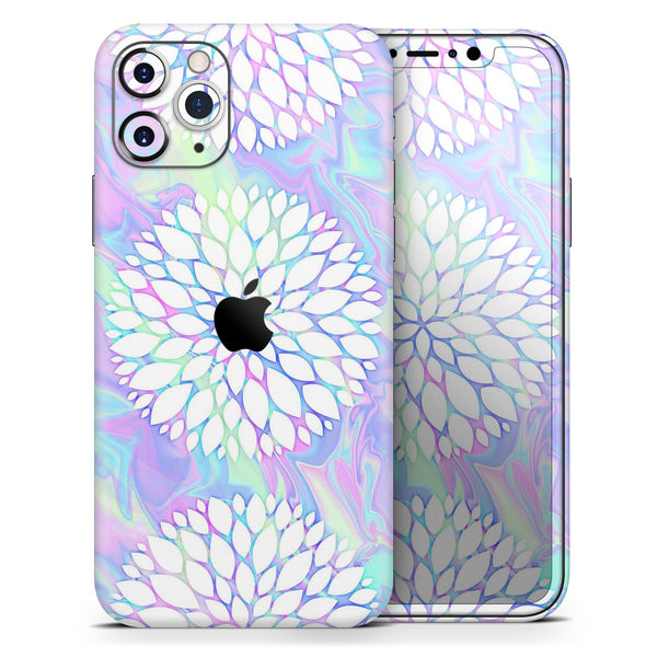 Iridescent Dahlia v6 - Skin-Kit compatible with the Apple iPhone 12, 12 Pro Max, 12 Mini, 11 Pro or 11 Pro Max (All iPhones Available)
