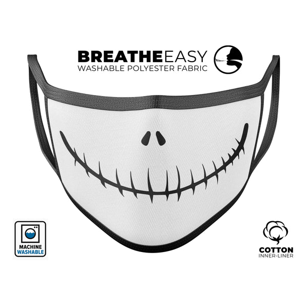Jack Skeleton Mouth V2 - Made in USA Mouth Cover Unisex Anti-Dust Cotton Blend Reusable & Washable Face Mask with Adjustable Sizing for Adult or Child