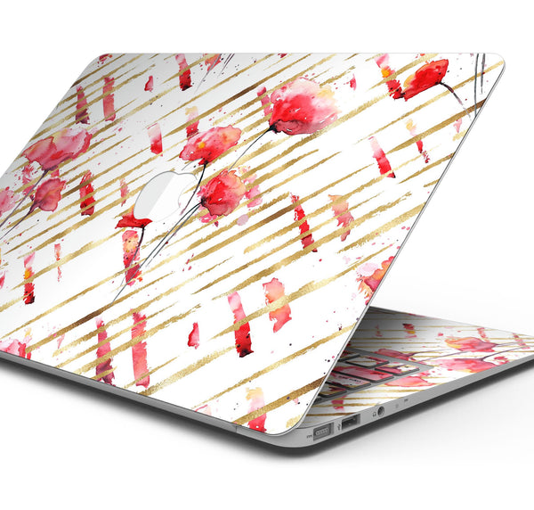 "Karamfila Watercolo Poppies V10 - Skin Decal Wrap Kit Compatible with the Apple MacBook Pro, Pro with Touch Bar or Air (11"", 12"", 13"", 15"" & 16"" - All Versions Available)"