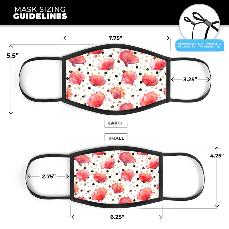 Karamfila Watercolo Poppies V4 - Made in USA Mouth Cover Unisex Anti-Dust Cotton Blend Reusable & Washable Face Mask with Adjustable Sizing for Adult or Child