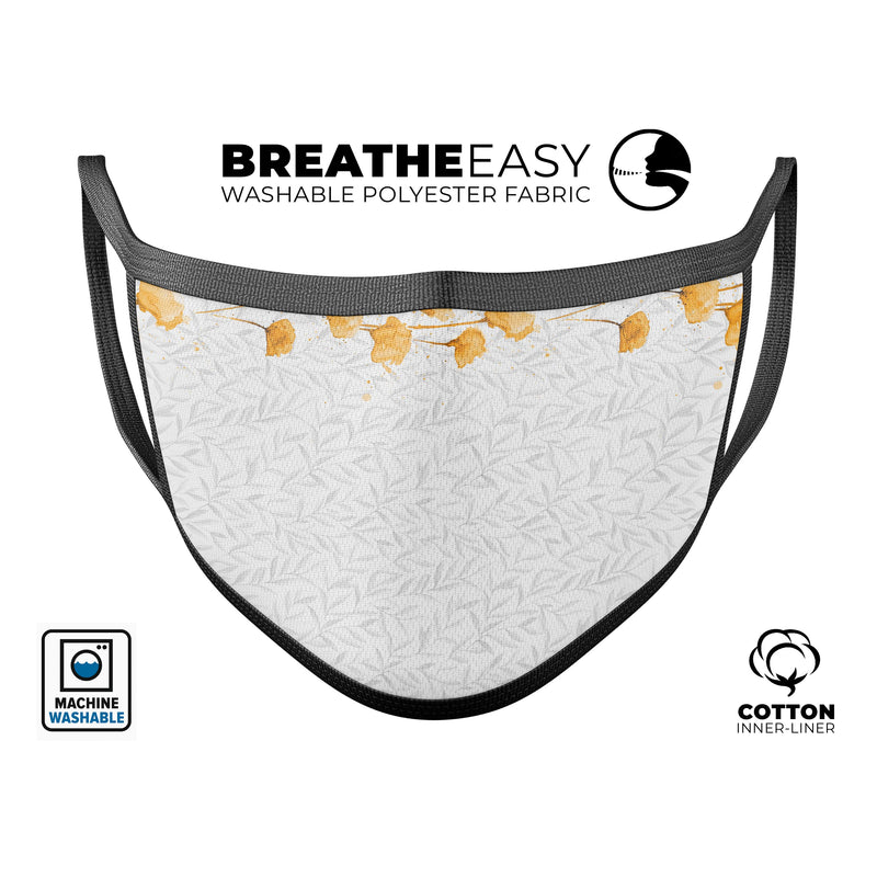 Karamfila Yellow & Gray Floral V14 - Made in USA Mouth Cover Unisex Anti-Dust Cotton Blend Reusable & Washable Face Mask with Adjustable Sizing for Adult or Child