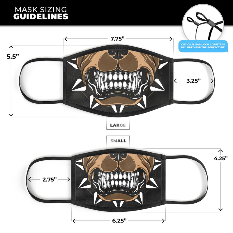 Knarly Growling Dog Mouth V1 - Made in USA Mouth Cover Unisex Anti-Dust Cotton Blend Reusable & Washable Face Mask with Adjustable Sizing for Adult or Child