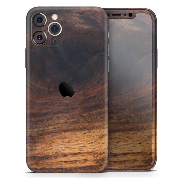 Knotted Rich Wood Plank - Skin-Kit compatible with the Apple iPhone 12, 12 Pro Max, 12 Mini, 11 Pro or 11 Pro Max (All iPhones Available)