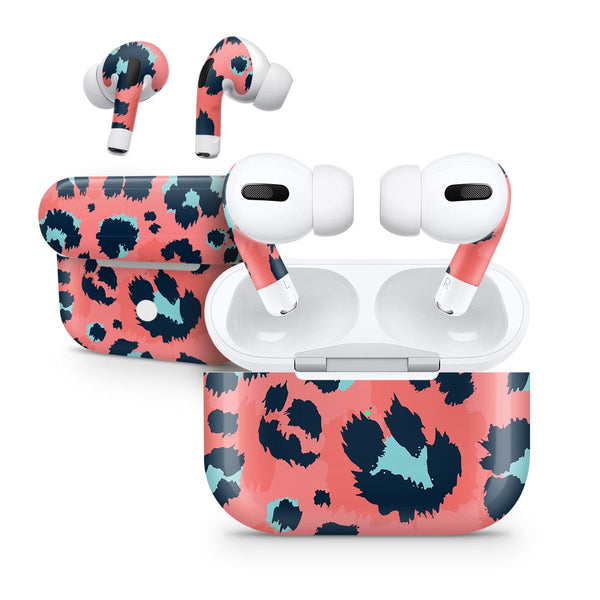 Leopard Coral and Teal V23 - Full Body Skin Decal Wrap Kit for the Wireless Bluetooth Apple Airpods Pro, AirPods Gen 1 or Gen 2 with Wireless Charging