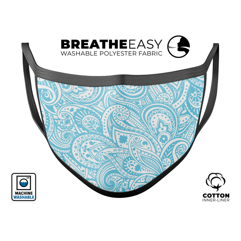 Light Blue Paisley Floral - Made in USA Mouth Cover Unisex Anti-Dust Cotton Blend Reusable & Washable Face Mask with Adjustable Sizing for Adult or Child