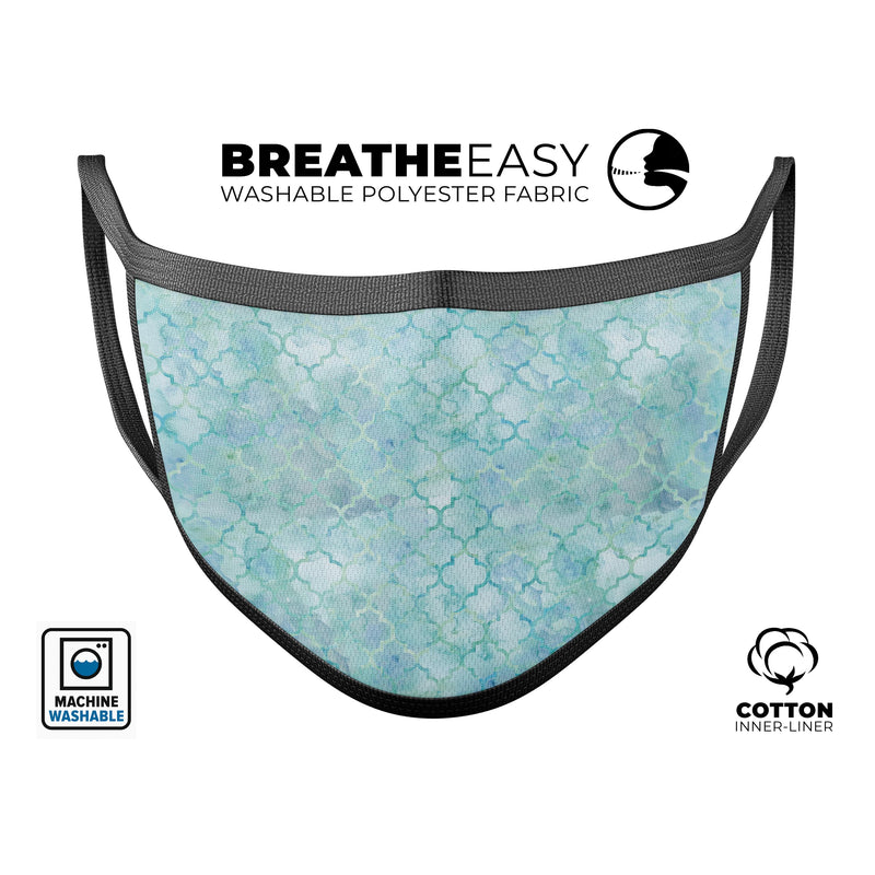 Light Blue Watercolor Quatrefoil - Made in USA Mouth Cover Unisex Anti-Dust Cotton Blend Reusable & Washable Face Mask with Adjustable Sizing for Adult or Child