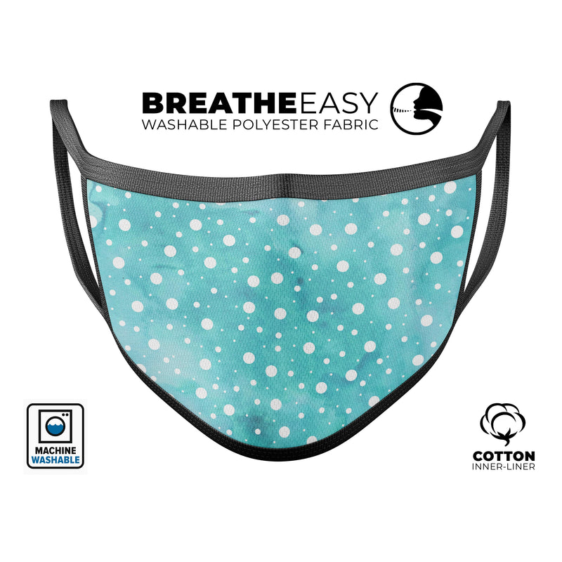 Light Blue and White Watercolor Polka Dots - Made in USA Mouth Cover Unisex Anti-Dust Cotton Blend Reusable & Washable Face Mask with Adjustable Sizing for Adult or Child