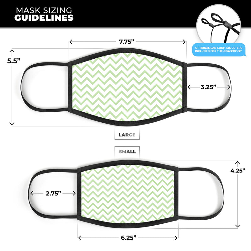 Light Green and White Chevron - Made in USA Mouth Cover Unisex Anti-Dust Cotton Blend Reusable & Washable Face Mask with Adjustable Sizing for Adult or Child