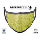 Lime Green Cauliflower Damask Pattern - Made in USA Mouth Cover Unisex Anti-Dust Cotton Blend Reusable & Washable Face Mask with Adjustable Sizing for Adult or Child