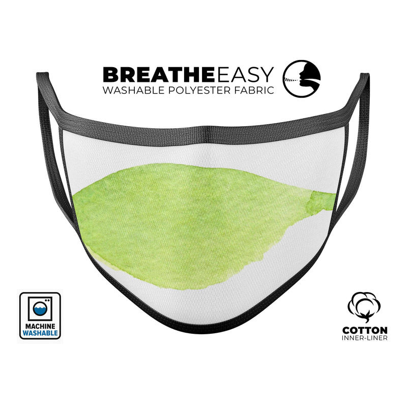 Lime Watercolor Leaf - Made in USA Mouth Cover Unisex Anti-Dust Cotton Blend Reusable & Washable Face Mask with Adjustable Sizing for Adult or Child