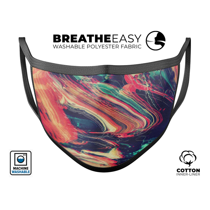 Liquid Abstract Paint Remix V10 - Made in USA Mouth Cover Unisex Anti-Dust Cotton Blend Reusable & Washable Face Mask with Adjustable Sizing for Adult or Child