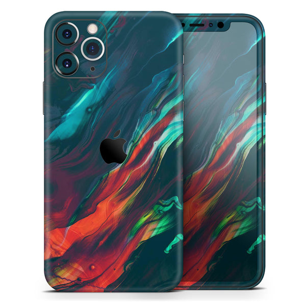Liquid Abstract Paint Remix V16 - Skin-Kit compatible with the Apple iPhone 12, 12 Pro Max, 12 Mini, 11 Pro or 11 Pro Max (All iPhones Available)