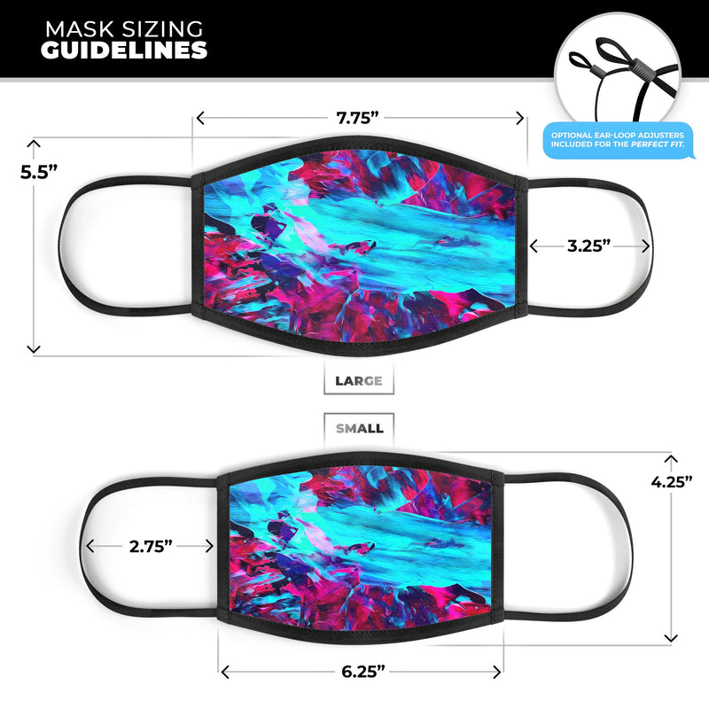 Liquid Abstract Paint Remix V32 - Made in USA Mouth Cover Unisex Anti-Dust Cotton Blend Reusable & Washable Face Mask with Adjustable Sizing for Adult or Child