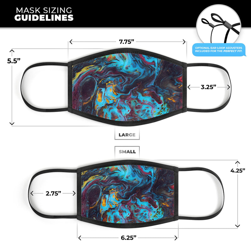 Liquid Abstract Paint Remix V43 - Made in USA Mouth Cover Unisex Anti-Dust Cotton Blend Reusable & Washable Face Mask with Adjustable Sizing for Adult or Child