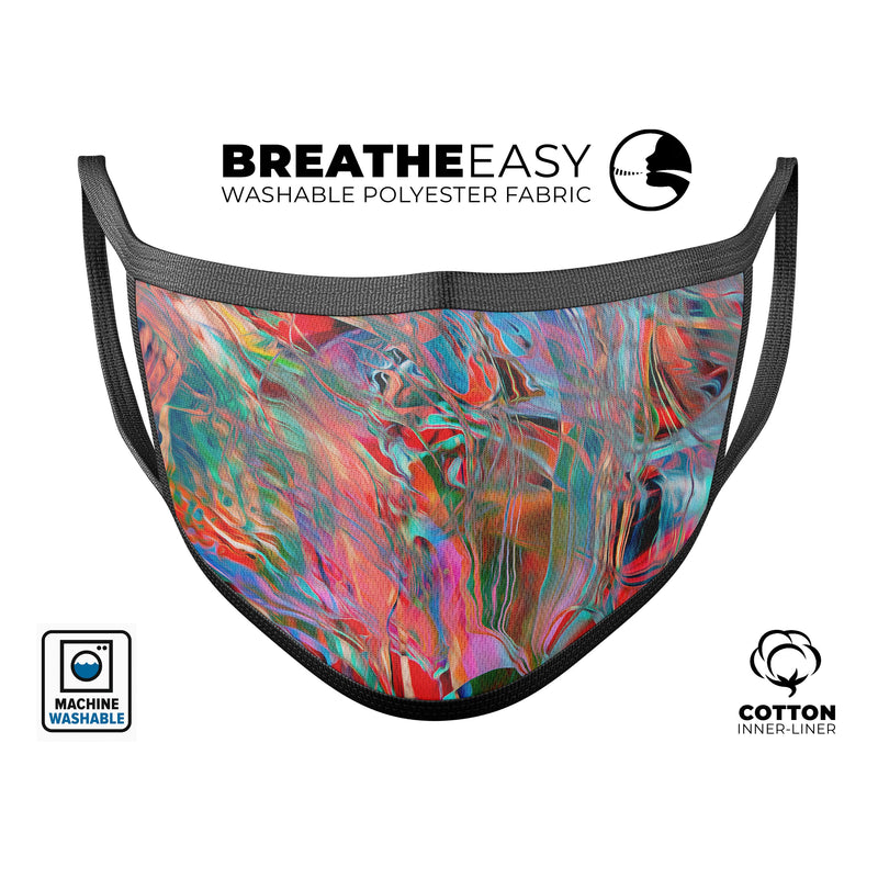 Liquid Abstract Paint Remix V45 - Made in USA Mouth Cover Unisex Anti-Dust Cotton Blend Reusable & Washable Face Mask with Adjustable Sizing for Adult or Child