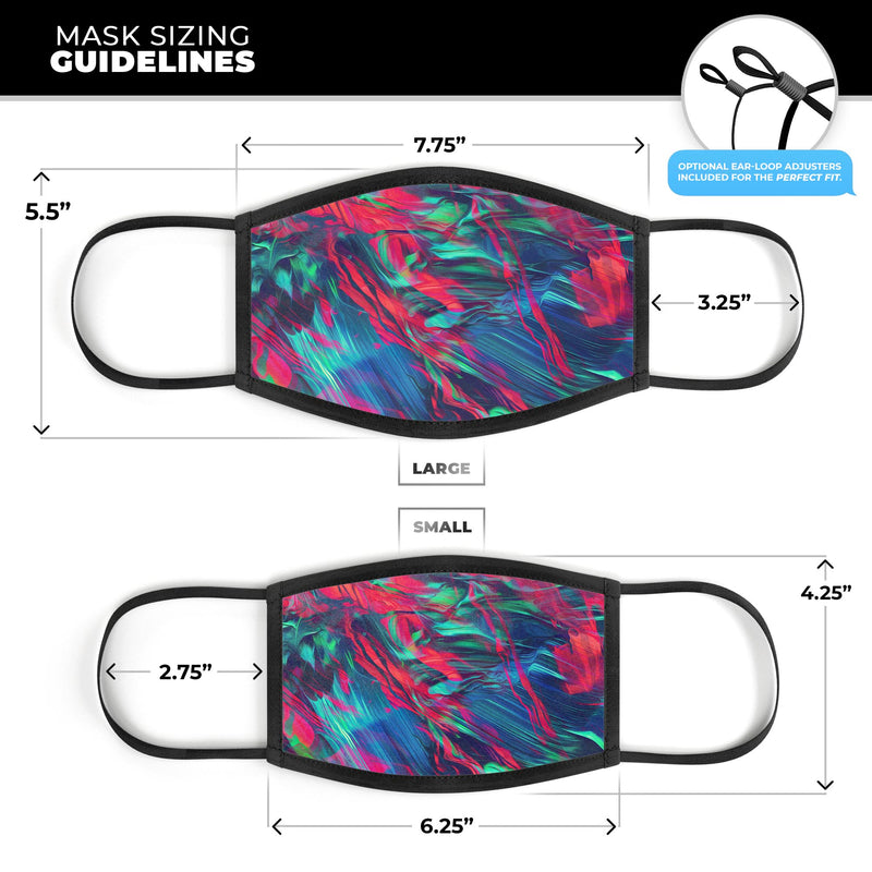 Liquid Abstract Paint Remix V4 - Made in USA Mouth Cover Unisex Anti-Dust Cotton Blend Reusable & Washable Face Mask with Adjustable Sizing for Adult or Child