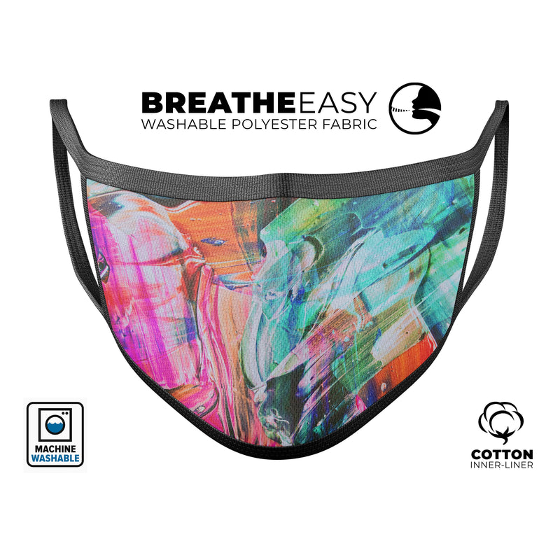 Liquid Abstract Paint Remix V55 - Made in USA Mouth Cover Unisex Anti-Dust Cotton Blend Reusable & Washable Face Mask with Adjustable Sizing for Adult or Child