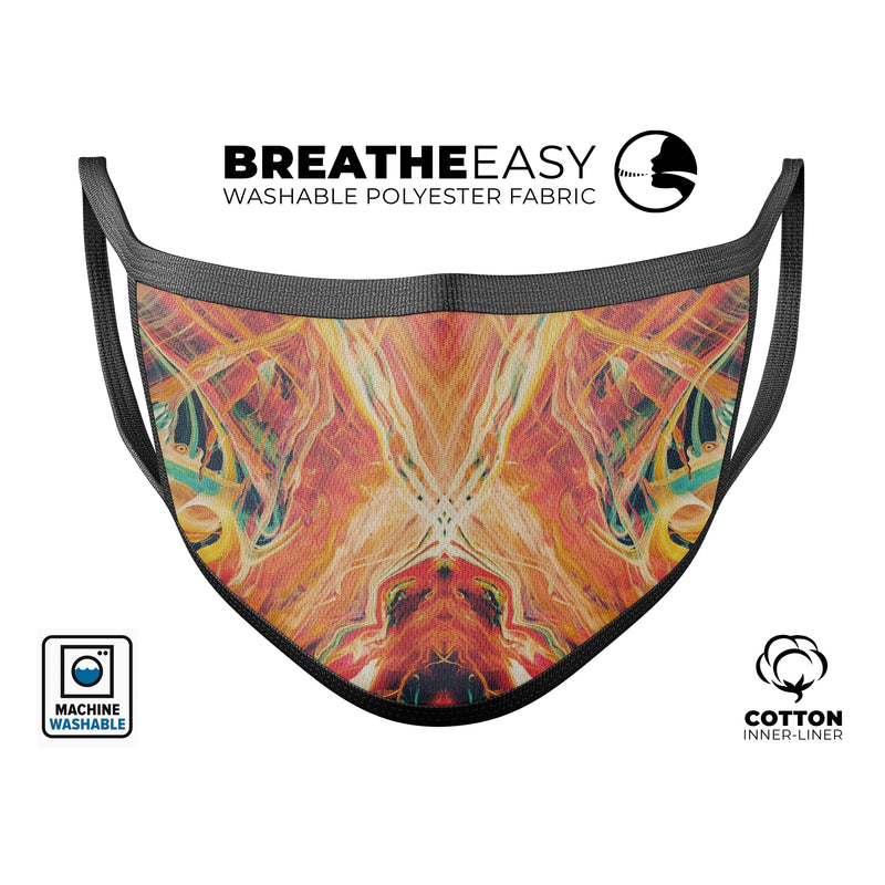 Liquid Abstract Paint Remix V59 - Made in USA Mouth Cover Unisex Anti-Dust Cotton Blend Reusable & Washable Face Mask with Adjustable Sizing for Adult or Child