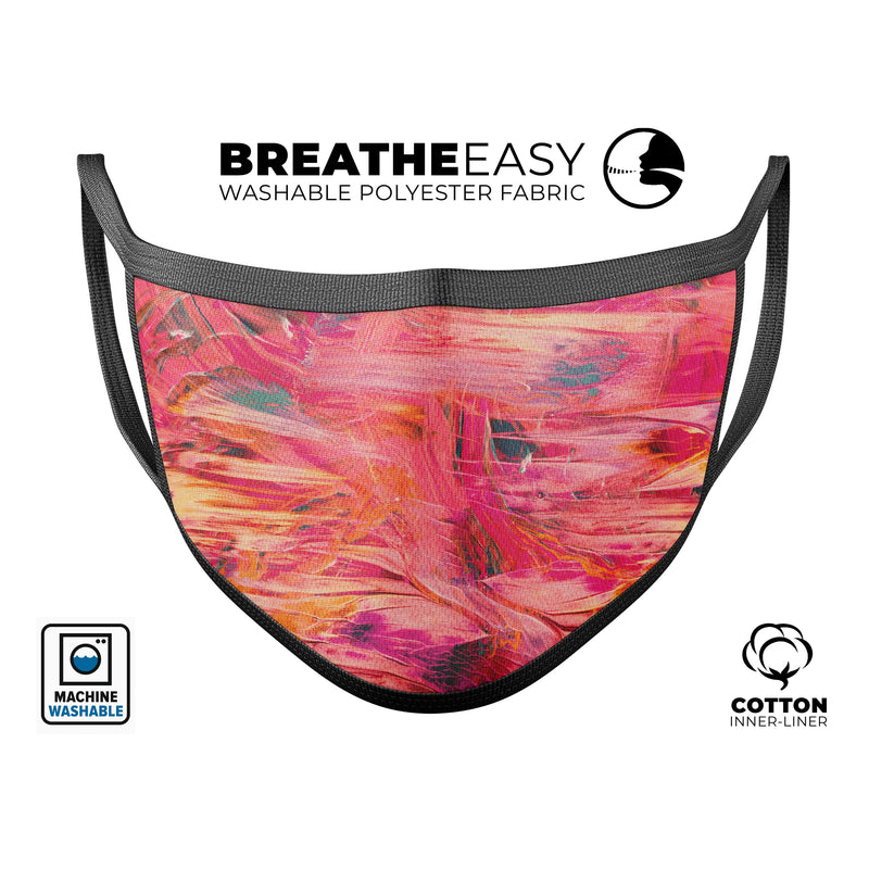 Liquid Abstract Paint Remix V61 - Made in USA Mouth Cover Unisex Anti-Dust Cotton Blend Reusable & Washable Face Mask with Adjustable Sizing for Adult or Child