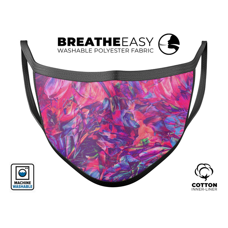 Liquid Abstract Paint Remix V76 - Made in USA Mouth Cover Unisex Anti-Dust Cotton Blend Reusable & Washable Face Mask with Adjustable Sizing for Adult or Child