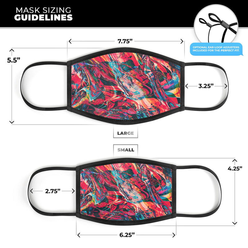 Liquid Abstract Paint Remix V87 - Made in USA Mouth Cover Unisex Anti-Dust Cotton Blend Reusable & Washable Face Mask with Adjustable Sizing for Adult or Child
