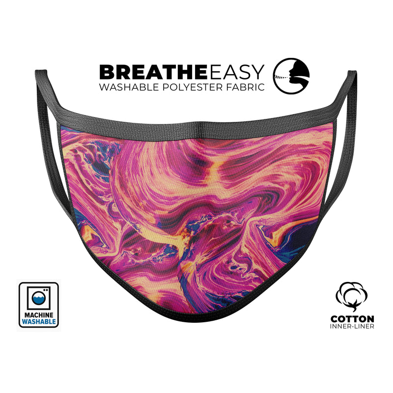 Liquid Abstract Paint Remix V95 - Made in USA Mouth Cover Unisex Anti-Dust Cotton Blend Reusable & Washable Face Mask with Adjustable Sizing for Adult or Child