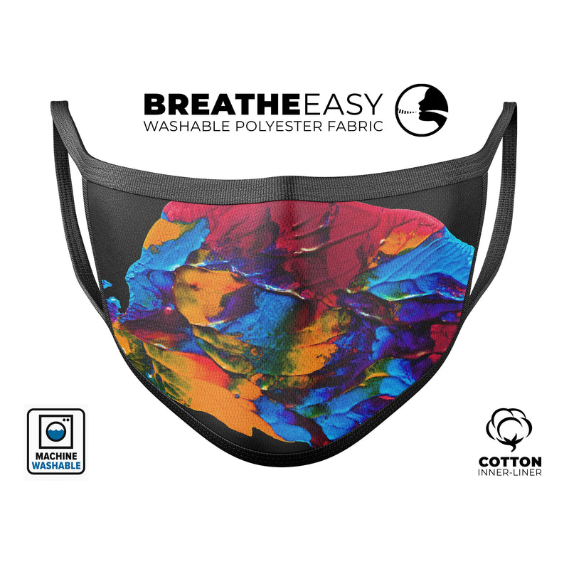 Liquid Abstract Paint V19 - Made in USA Mouth Cover Unisex Anti-Dust Cotton Blend Reusable & Washable Face Mask with Adjustable Sizing for Adult or Child