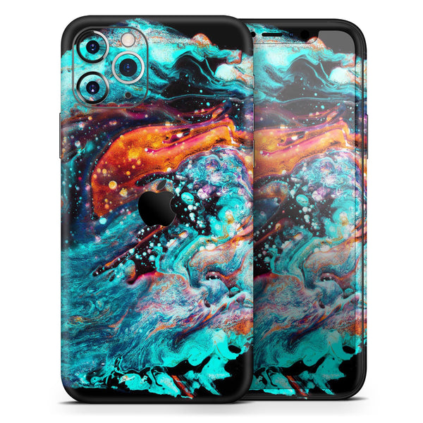 Liquid Abstract Paint V21 - Skin-Kit compatible with the Apple iPhone 12, 12 Pro Max, 12 Mini, 11 Pro or 11 Pro Max (All iPhones Available)