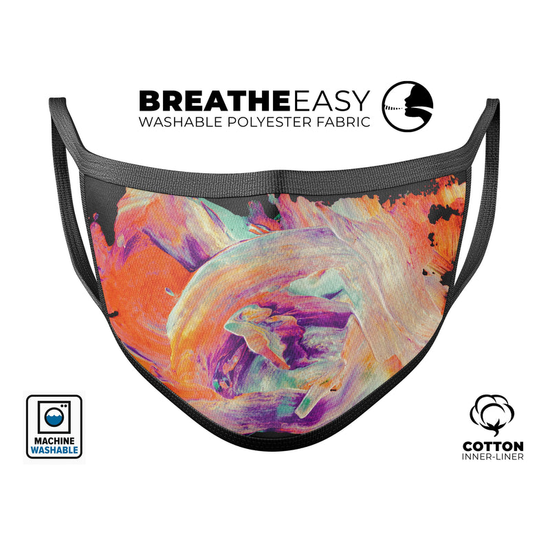 Liquid Abstract Paint V35 - Made in USA Mouth Cover Unisex Anti-Dust Cotton Blend Reusable & Washable Face Mask with Adjustable Sizing for Adult or Child
