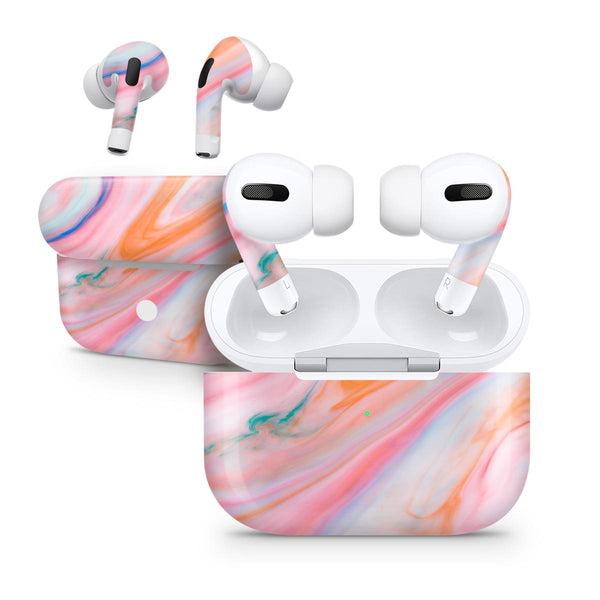 Magical Coral Marble V5 - Full Body Skin Decal Wrap Kit for the Wireless Bluetooth Apple Airpods Pro, AirPods Gen 1 or Gen 2 with Wireless Charging