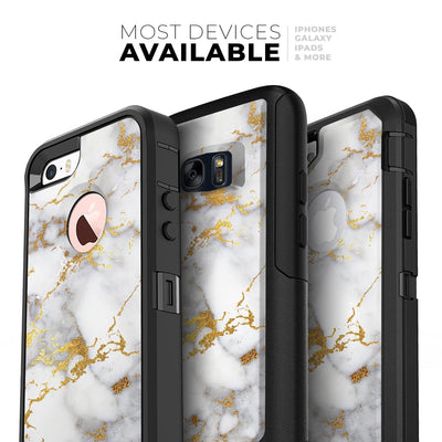 Marble & Digital Gold Foil V7 - Skin Kit for the iPhone OtterBox Cases