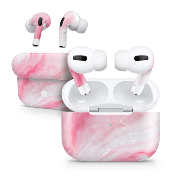 Marbleized Pink Paradise V6 - Full Body Skin Decal Wrap Kit for the Wireless Bluetooth Apple Airpods Pro, AirPods Gen 1 or Gen 2 with Wireless Charging
