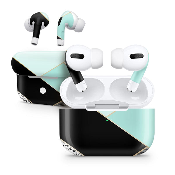 Minimalistic Mint and Gold Striped V1 - Full Body Skin Decal Wrap Kit for the Wireless Bluetooth Apple Airpods Pro, AirPods Gen 1 or Gen 2 with Wireless Charging