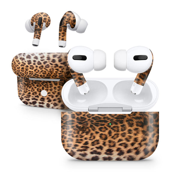 Mirrored Leopard Hide - Full Body Skin Decal Wrap Kit for the Wireless Bluetooth Apple Airpods Pro, AirPods Gen 1 or Gen 2 with Wireless Charging