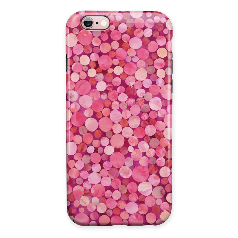 Mixed Pink Watercolor Dots iPhone 6/6s or 6/6s Plus 2-Piece Hybrid INK-Fuzed Case