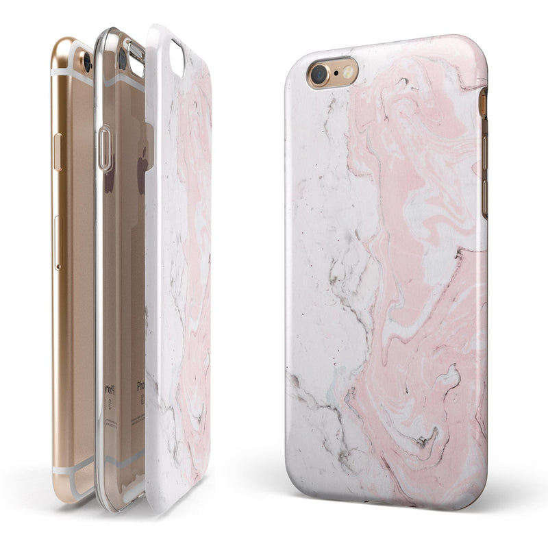 Mixtured Gray and Pink v10 Textured Marble iPhone 6/6s or 6/6s Plus 2-Piece Hybrid INK-Fuzed Case