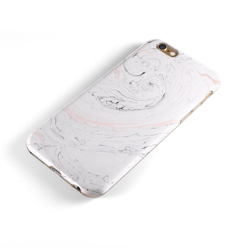 Mixtured Pink and Gray 24 Textured Marble iPhone 6/6s or 6/6s Plus 2-Piece Hybrid INK-Fuzed Case