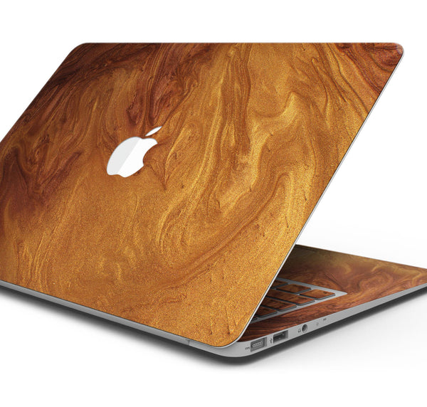 "Modern Marble Gold Metallic Mix V6 - Skin Decal Wrap Kit Compatible with the Apple MacBook Pro, Pro with Touch Bar or Air (11"", 12"", 13"", 15"" & 16"" - All Versions Available)"