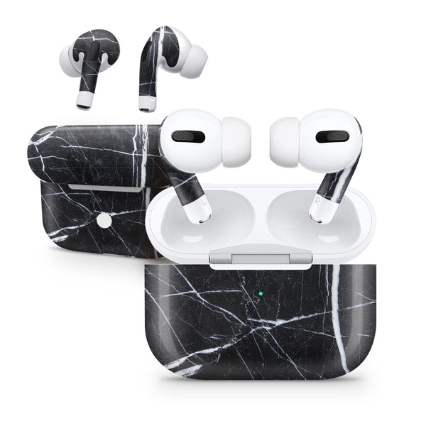Natural Black & White Marble Stone - Full Body Skin Decal Wrap Kit for the Wireless Bluetooth Apple Airpods Pro, AirPods Gen 1 or Gen 2 with Wireless Charging