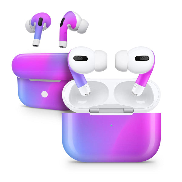 Neon Holographic V1 - Full Body Skin Decal Wrap Kit for the Wireless Bluetooth Apple Airpods Pro, AirPods Gen 1 or Gen 2 with Wireless Charging